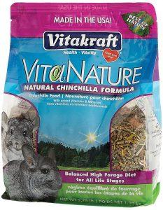 Vitakraft's Vitanature chinchilla food with natural timothy formula